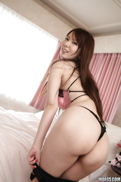Gorgeous Japanese beauty with untamed legs Yui Hatano erotic dancing off her clothing