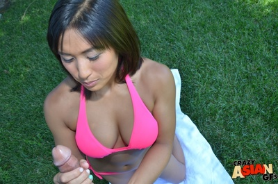 Chinese infant Mia blowing POV pride outdoors prior to sperm stream on melons