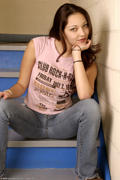 Teen Japanese cutie in denim jeans exposing large usual infant apples