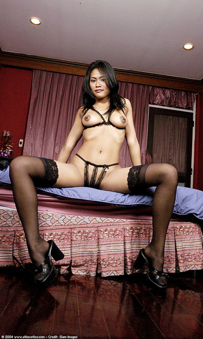 Stocking and petticoat garbed Japanese adolescent revealing immense breasts and severe tit buttons