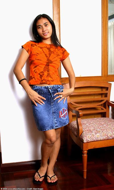 Leggy Eastern number 1 timer shedding short skirt for hirsute fur pie exposure