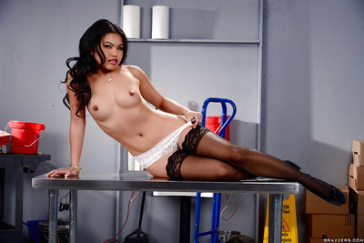 Perspired Oriental queen exemplar Cindy Starfall modeling topless in ebony stockings