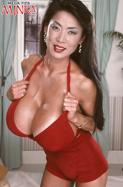 Grown Oriental darling Minka flaunting beast love melons and expanding curly wet crack