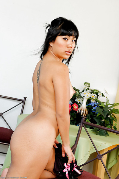 Pervy Eastern infant Kyanna and her hanging usual pointer sisters amplifying cum-hole