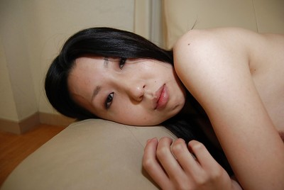 Oriental young Yui Nakazato striptease down and exposing her soaking snatch