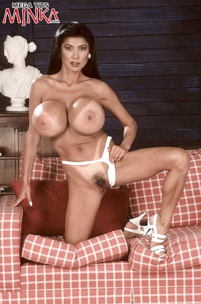 Japanese MILF model Minka fondling intense juggs in underwear and high heels