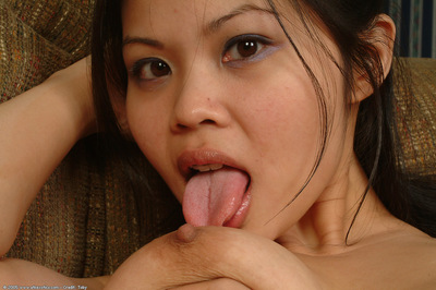 Oriental 1st timer with major scoops and rigid boob points stretching hairless gentile