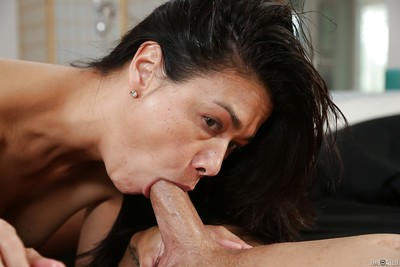 Alluring oriental cunt Dana gives a sloppy and sodden oral sex to that weenie