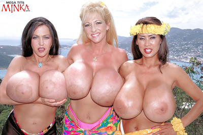 Chesty lesbos Minka, Maxi Scones and Casey James flaunt heavy melons outside