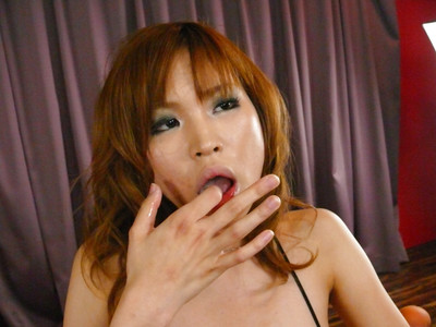 Redheaded Japanese playgirl Ai Sakura eating ball batter exactly after bj and tit fuck