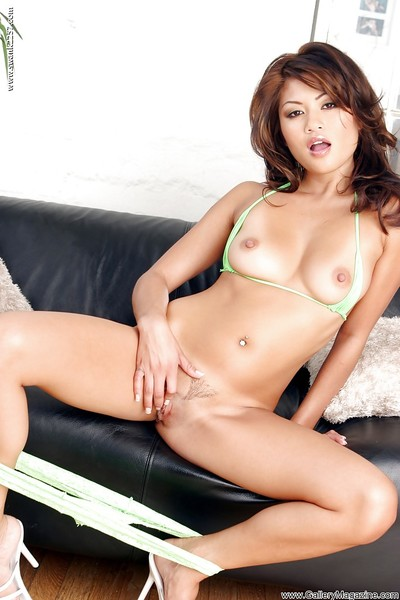 Undersize Eastern Charmane Star playing with dick trimmed bawdy cleft for Genesis Magazine