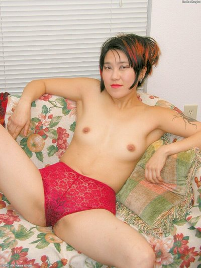 Oriental infant in high heels with insignificant whoppers lets slip hirsute fur pie