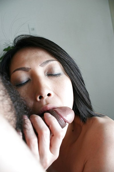 Oriental MILF Miki Ohnuma vibes her curly slit and enjoys hardcore smokin