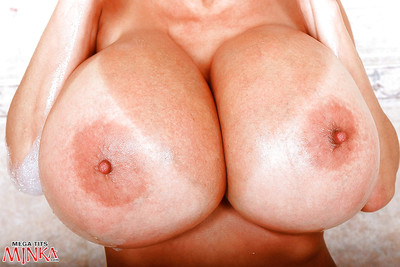 Japanese solo instance Minka makes known largest breasts previous to toying wavy slit in washroom