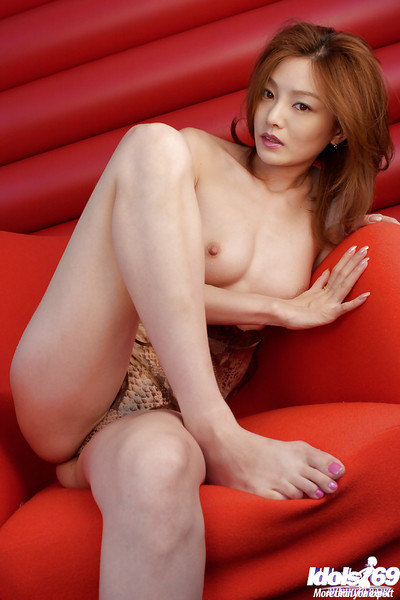 Sexual eastern gal with unshaven cooter Ray Ito posing in underclothes