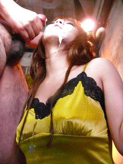 Japanese redhead Mizuki Ishikawa receiving blowbang despite the fact orgy