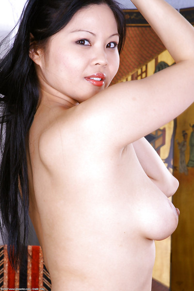 Glamorous Oriental youthful Ayane strutting topless and expanding shaggy cooter