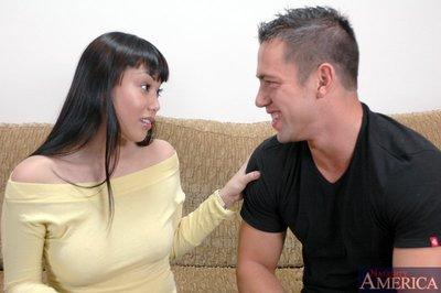 Perspired Japanese juvenile with gigantic hooters Avena Lee receiving mammoth shlong