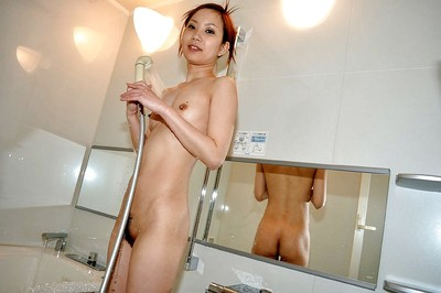 Slim Chinese juvenile with  gash Michie Maruo fascinating bathroom and washroom