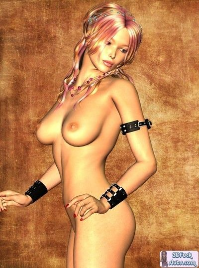 Emo pink haired caricature girl naked