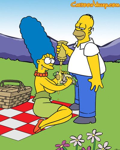 Marge surprises homer at work with a food basket, inviting him to a naughty picn