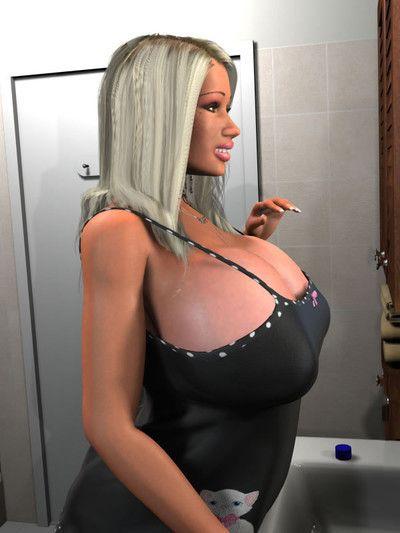 Seductive 3d blond exposing her giant billibongs in the bathroom