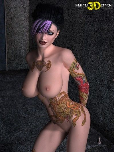 Punk hottie with tattoos huge scoops and fantabulous body