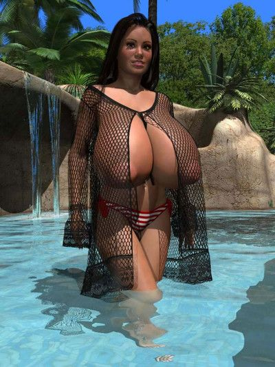 Appealing 3d beauty with giant breast posing topless at swimming pool