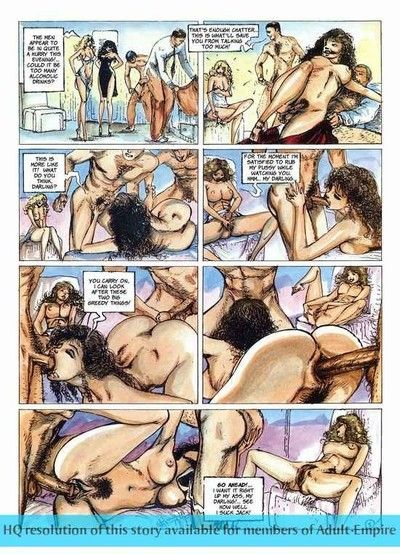 Beauties sharing schlong in the hottest love making act comics