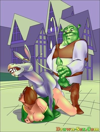 Shrek and his friends having sexy liking