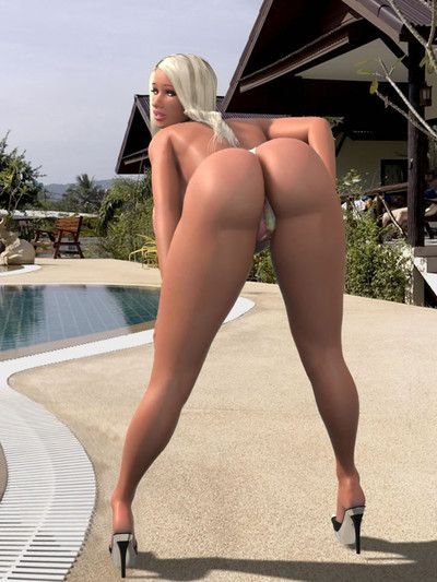 Seductive 3d doll with damp gigantic meatballs takes her clothes off and poses by pool