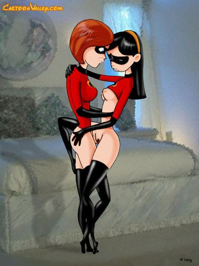 Mr. incredible forces elastigirls twat with super cock