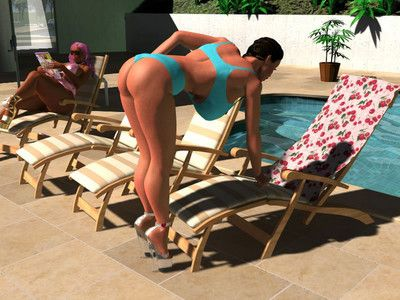 Pornstar sexy 3d bigtitted bikini queens sunbathing outdoors