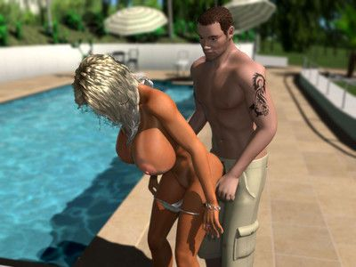 Bigtitted 3d blonde getting her twat fucked dear by the pool