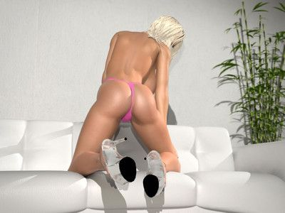 Topless 3d blonde with enormous scoops positions on white daybed