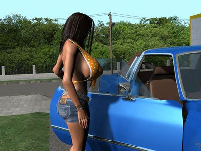 Titsy 3d dark brown drops panties and bra to wash a car