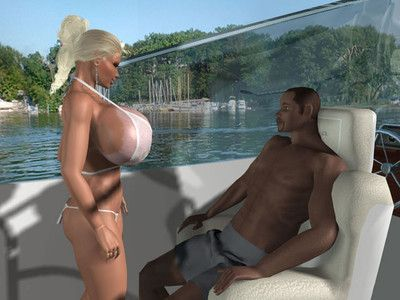Topless 3d fairy with huge love bubbles location on sea yacht