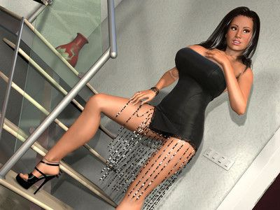 Sexy 3d brunette hair shows big breasts and soaked snatch on the stairs