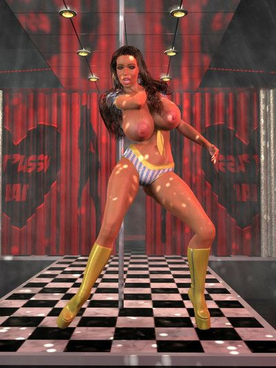 Busty 3d darling on a stripper pole shows big accustomed milk cans