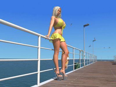 Busty 3d blonde babe shows her huge bra buddies under bikini outdoors