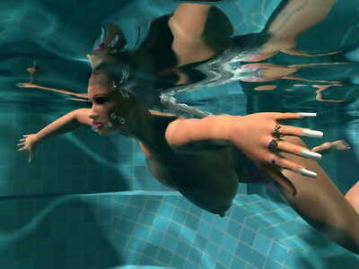 Sexy 3d fairy-haired with large love melons sunbathing topless by the pool - part 1254