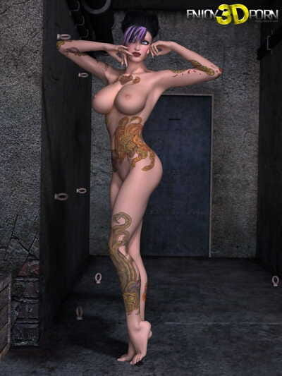 Punk girl with tattoos vast milk sacks and adorable body - part 246