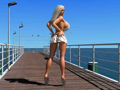Sexy 3d bikini blonde model shows her large boobs on the pier - part 1166
