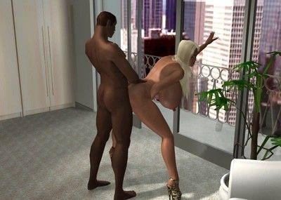 Lustful 3d blonde going for a major brown stick in steamy interracial
