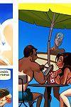 Adult comic of moist big tit bikini milf working a raw summer job