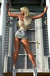 Large titted 3d blonde cutie posing exposed outdoors