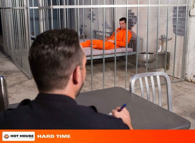 Being locked up makes Marcus Ruhl sexually excited and lewd for dick. He offers to suck off Officer Jimmy Durano but the Latin dude refuses. Instead this guy calls Landon Conrad in to fuck the hawt prisoner