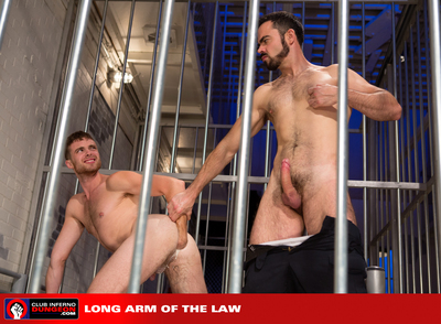Go over offender Brandon Moore knows the routine. Officer Dolan Wolf comes by each morning and sticks his hard dick during the bars for his daily strike job. Despite his protests, Dolan makes the young prisoner gag on his hulking dick but he