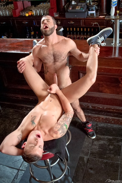 Earlier than the bar opens, juvenile bar backwards James Ryder and bartender Marcus Isaacs are getting ready. Tatted James is barechested and his jeans flight low, showing off his moist bubble butt. Marcus notices and wants to enjoy so that guy climbs ove
