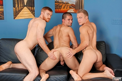 Adam Ridge is caught in the core sandwich between a rock and a hard cock. Positioned sandwich between James Jamesson & Anthony Romero, Adam has his ram of wild studs to desire from. But why desire when u can have both? Adam sucks on James